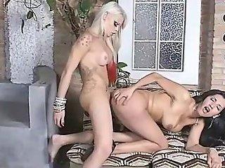 Blonde shemale fucks hot brunette shemale