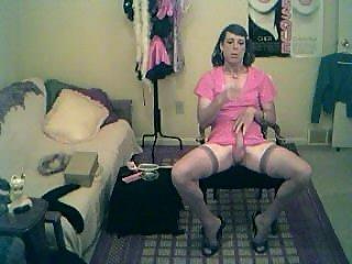 Thomasina smoking and stroking in pink