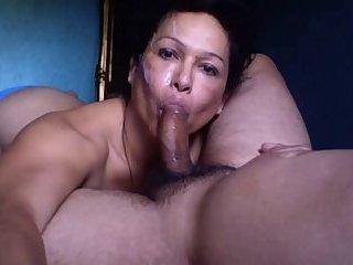 Shemale Blowjob cum Face