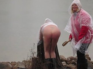 Mistress Spanks Sissy In The Freezing Rain