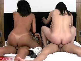 Cock loving t-girls are giving sloppy blowjobs in foursome