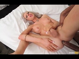 Blonde shemale hard fucked by black