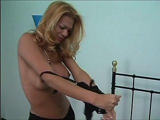 Blonde tan tranny in black undies fuck on bed