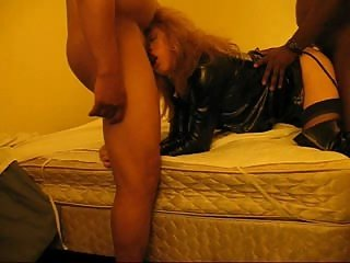 Tranny Has 1st Threesome With Black cock