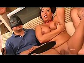 Hot shemale has good time with two cocks