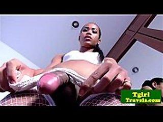 Ladyboy TT in white corset teases cock