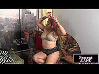 Stripteasing femboy strokes her cock