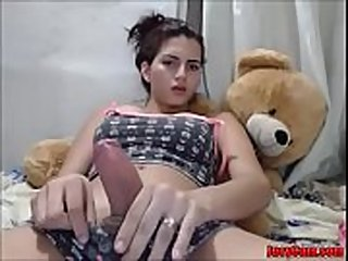 shemale cam - Sexy shemale rub her cock and tease on cam - Jucycam